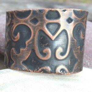 Solid Copper Regal Wide Cuff Bracelet Victorian